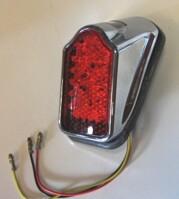 """Mini LED Tombstone baklampa,rött glas,""""E"""", Chr"""